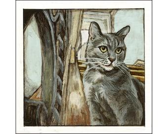 Greta the Cat print of an original painting