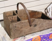 SALE, was 65.00, wonderful, old, 1930's, hand made, rustic, wooden tool box