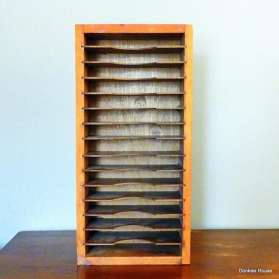 Vintage Rustic Wood Mail Sorter Filing System For Home Office