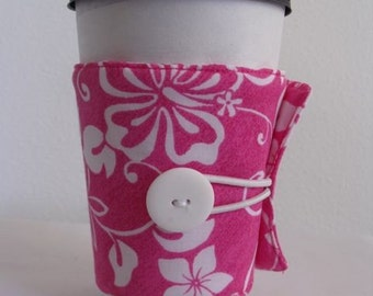 Pink Hawaiian Print Eco Friendly Coffee Sleeve