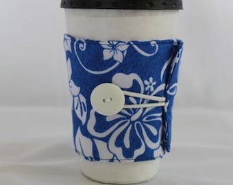 Blue and White Coffee Sleeve (Reusable)