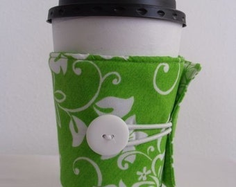 Green and White Hawaiian Print Adjustable Eco Friendly Coffee Sleeve