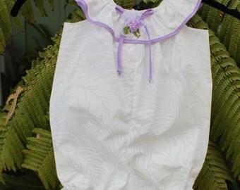 White on White Hawaiian Print Infant Romper Lavender Trim