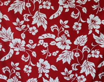 Classic Cotton Red and White Hawaiian Print (Yardage Available)