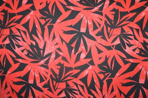 Red and Black Hawaiian Print Yardage Available