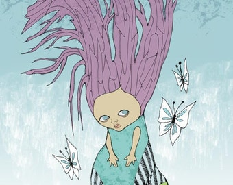 Childrens Room Whimsical Art Print Hair is A Tree