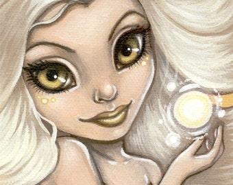 Big Eyed Art / Fairy Print / Golden Glow