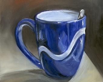 Blue Coffee Cup Print