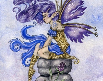 Fairy Print Fantasy Art Patiently Waiting by Lindsey Cormier