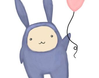 Bunny Guy with Balloon Print