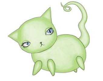 Light Green Kitty Print
