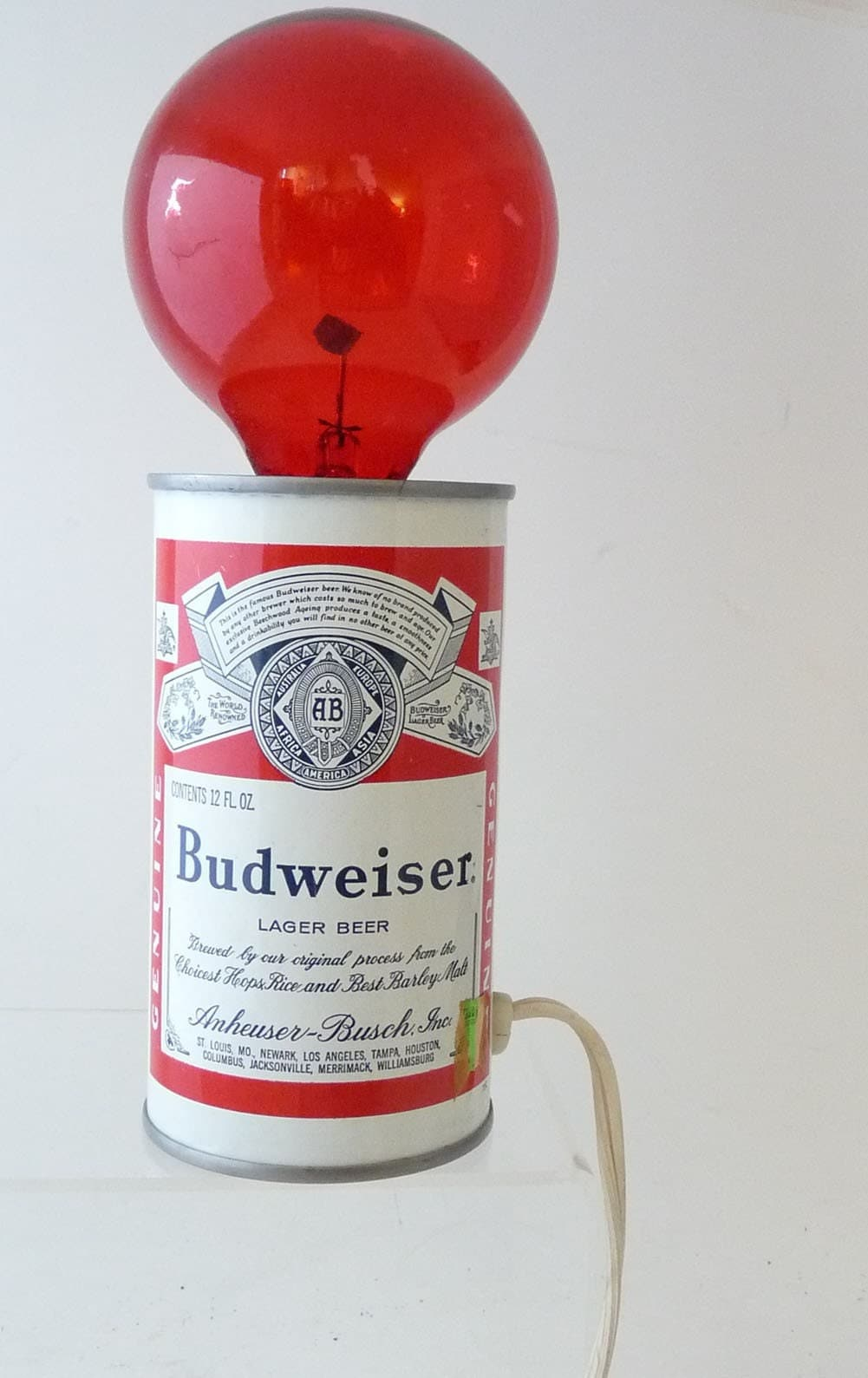 Vintage Budweiser Beer Can Red Lamp