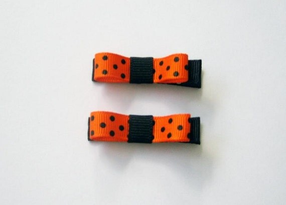 Orange and Black Polka Dot Hair Clippies Tuxedo Hair Bow Set