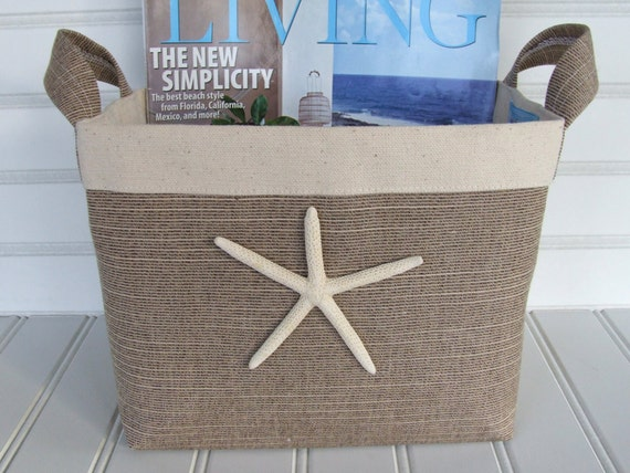Brown Tweed Coastal Fabric Storage Basket with Sea Star