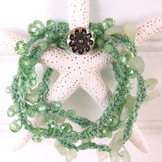 Sea foam green coastal bracelet crocheted with cut crystal and natural stone beads