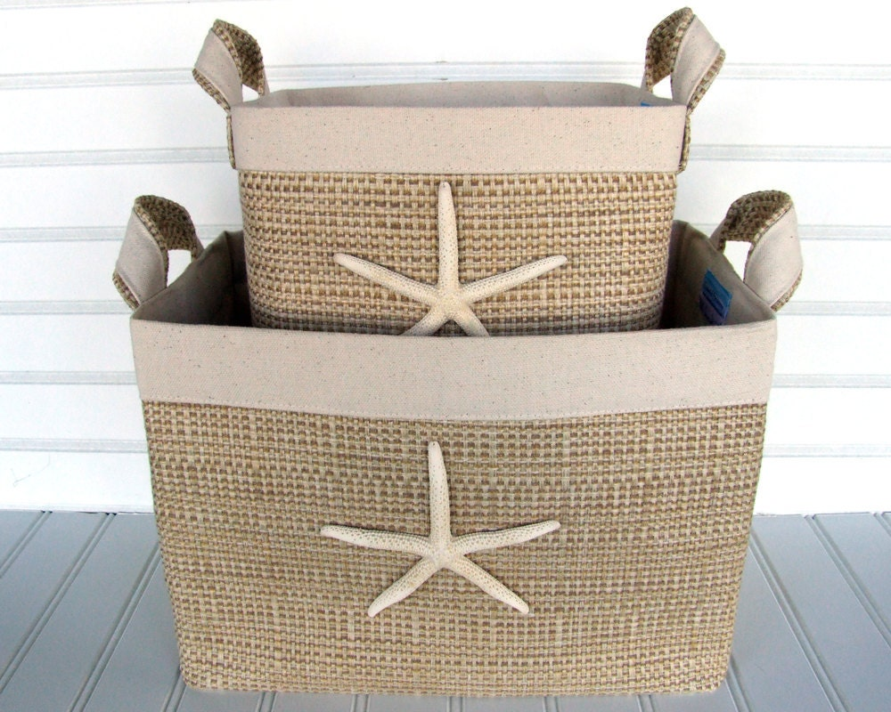 Set Of Two Coastal Fabric Storage Baskets With Sea Stars For