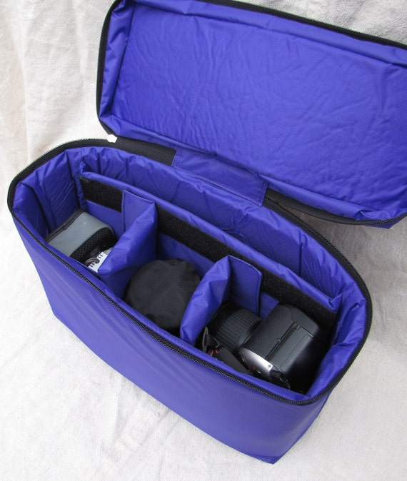 PreOrder Custom DSLR Camera Bag Insert with Zipper Closure -Adjustable Dividers - Custom Size and Color