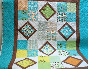 Baby Quilt Gender Neutral Patchwork Teal, Green, Orange Forest Animals, Grow With Me Baby Boy Quilt