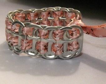 Pink Cherry Blossom Ribbon Recycled Soda Pop Can Tab Bracelet
