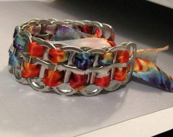Recycled Soda Pop Can Tab Bracelet Tie Dyed Ribbon Hippie