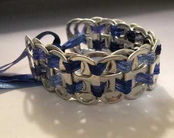 Recycled Soda Pop Can Tab Ribbon Bracelet Blues