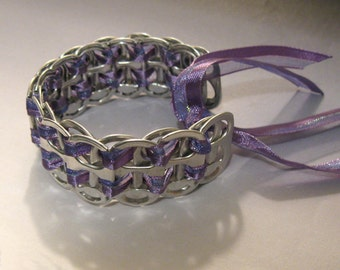 Recycled Soda Pop Can Tab Bracelet Purple Ribbon