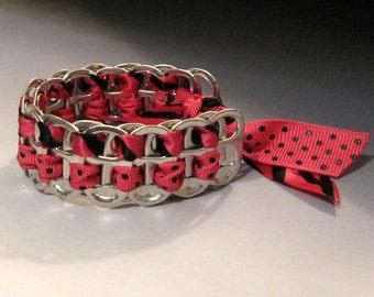 Recycled Soda Pop Can Tab Bracelet Ribbon Hot Pink
