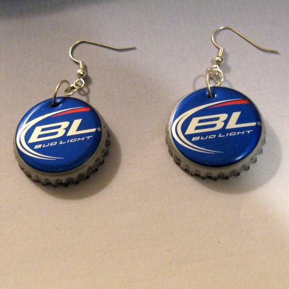 Recycled beer bottle cap earrings budweiser bud by - Beer bottle caps recyclable ...