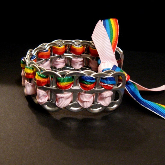 Recycled Soda Pop Can Tab Bracelet Rainbow Pink