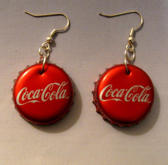 Coca Cola Recycled Soda Bottle Cap Earrings By Firewarpedglass