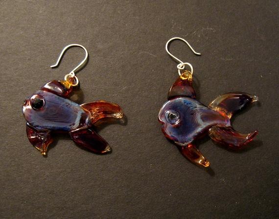 Boro Glass Lampworked Fish Earrings Purple