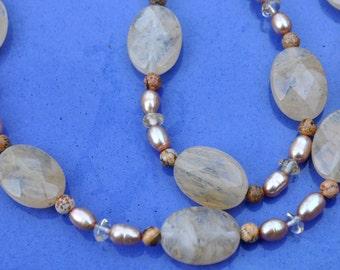 Hazelnut Almond Pineapple Quartz Necklace