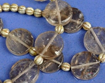 Ivory Cream Sand Linen Translucent Coin Luster Necklace