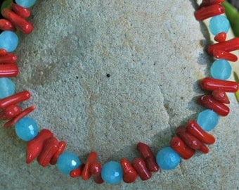 Turquoise Red Stick Coral Bracelet jewelry under 25