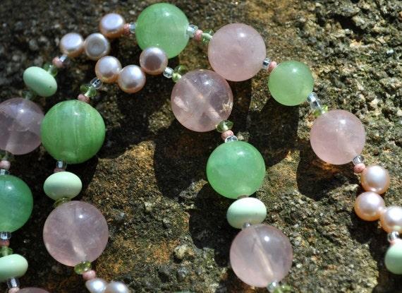 Vintage Rose Quartz Lucite Green Jade Necklace Pantone 2016