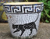 Stained Glass & Tile Mosaic Garden Container - Black Cats-Greek Key-Halloween