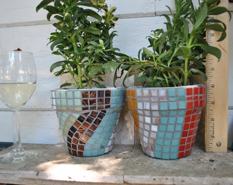 Pair of Mosaic Tile Flower Pots Teal, Tomato, Tobacco, White and Yellow
