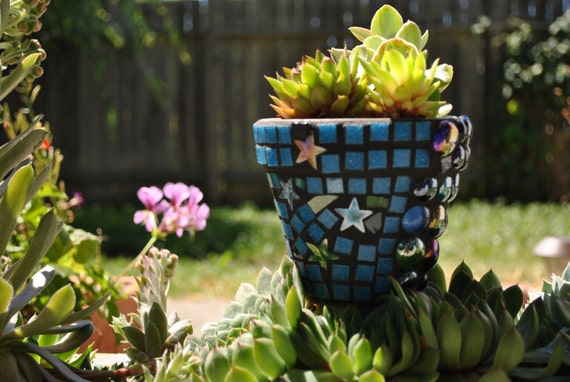 Iridescent Star Mosaic Stained Glass Flower Pot