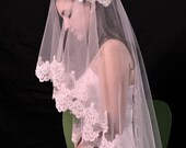 Mantilla bridal wedding veil 49x49 IVORY Fingertip length, alencon  lace