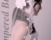 Mantilla bridal wedding veil 53x73 chapel floor length ivory