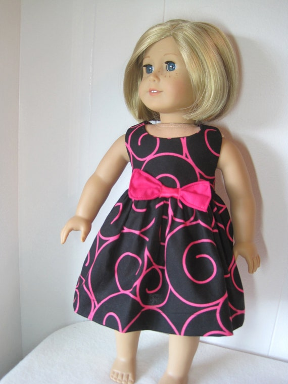 Made for American Girl Doll Dress Black Pink Swirl by stlkaty on etsy.com