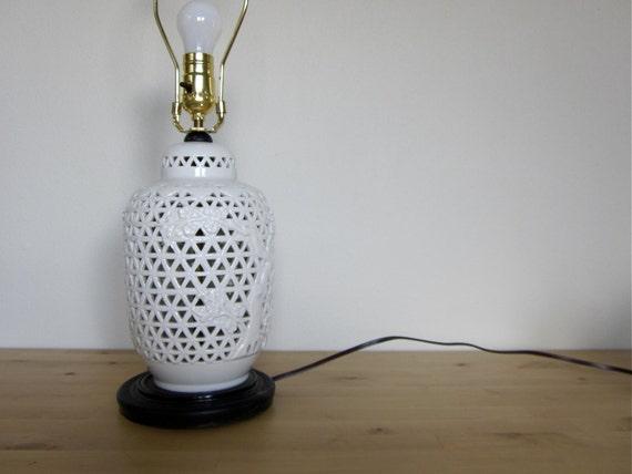 White Lattice Porcelain Table Lamp