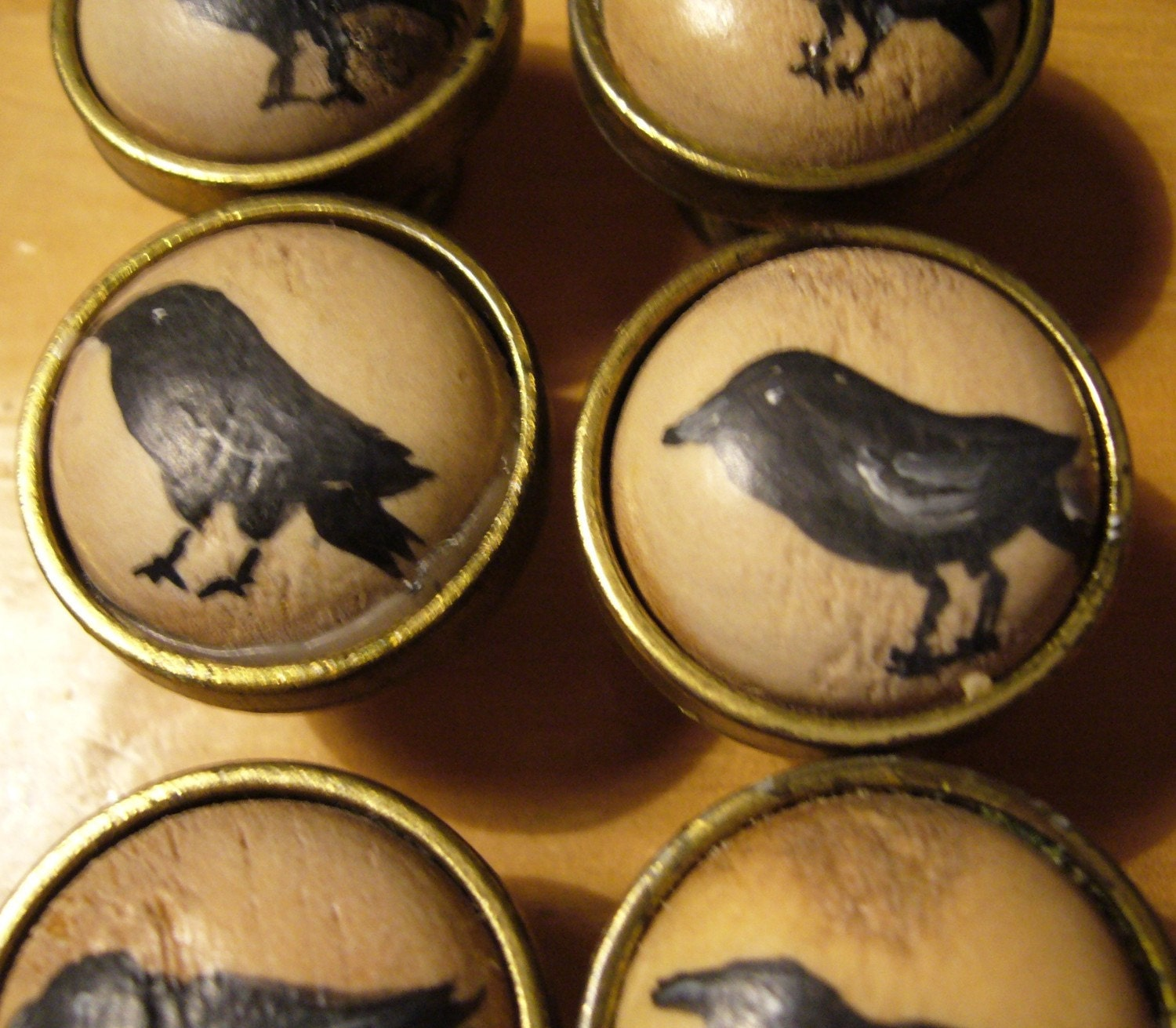 Hand Painted Vintage Door Knobs Pulls Raven By Thebackyardbear