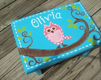 Blue and Pink Owl Step Stool
