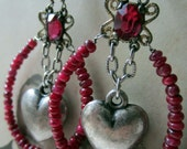 sweetheart earrings - vintage assemblage earrings with silver hearts, rubies and rhinestones by the french circus