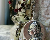 the queen's rosaries - vintage assemblage necklace with crown, cameos and mother of pearl rosary by the french circus