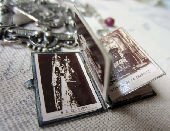 RESERVED for Vanita - luxembourg luxe - vintage paris souvenir, book pendant and rhinestone assemblage necklace by the french circus