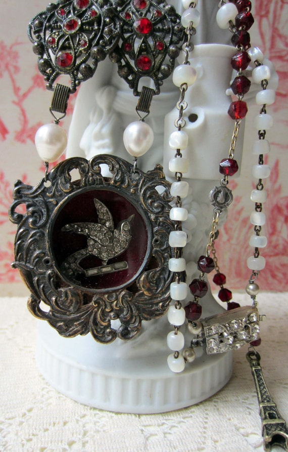 RESERVED for AC - velvet flight - vintage assemblage necklace with relic pendant and mother of pearl rosary by the french circus