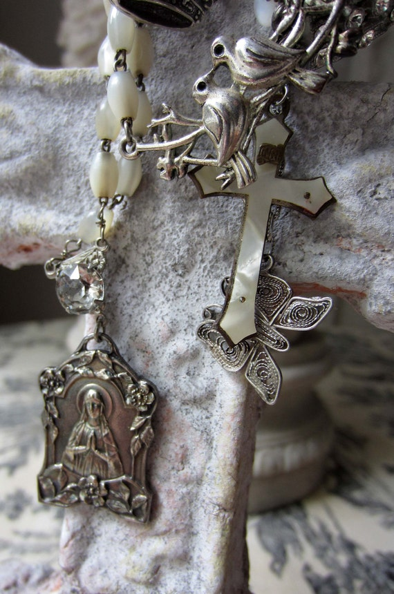 SOLD to Teresa - paradise found - vintage assemblage necklace with mother of pearl rosaries and catholic medal by the french circus