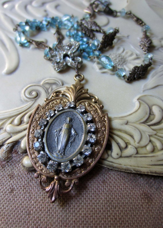 belle en bleu - vintage assemblage necklace with catholic medal, rhinestones and glass beads by the french circus